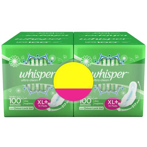 Whisper Ultra Clean Sanitary Pads - XL Plus