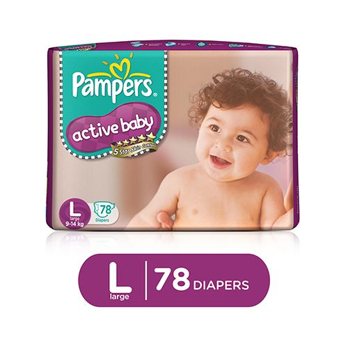 Pampers Active Baby Large (9-14 kg)-78 Diapers