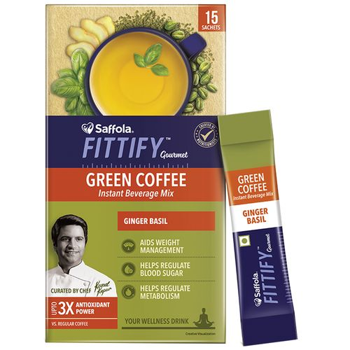 Saffola Fittify Gourmet Green Coffee Instant Beverage Mix- Ginger Basil